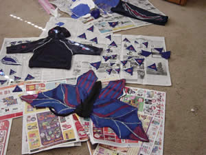 dragon costume pieces before assembly