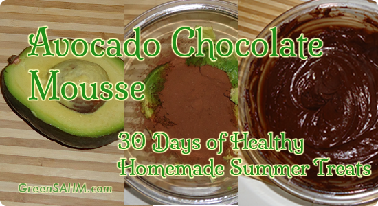 Avocado Chocolate Mousse - Day 4 of  30 Days of Healthy Homemade Summer Treats